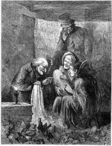 The epitaph of commerce; death of miser Scrooge
