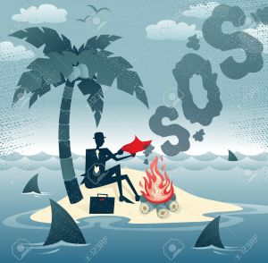 Abstract Businessman sends Smoke Signals on an Island.