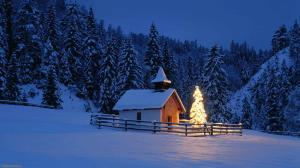 Christmas-Snow-Tree-Lights-House-Wallpapers